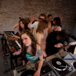 Stock Photo: Cute lady DJ