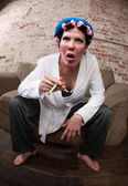 Befuddled woman — Stock Photo