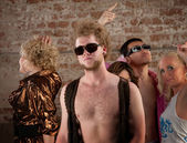 Bare chested man at disco party — Stock Photo