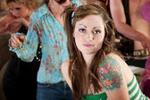 Young woman at 1970s Disco Music Party — Stock Photo