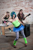 Female punk rock band — Stok fotoğraf
