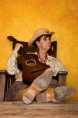 Pretty Western Woman with Guitar — Stock Photo