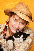 Pretty Western Woman with cat — Stock Photo
