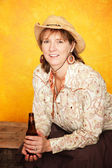 Pretty Western Woman with Beer — Stock Photo
