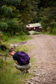Hiker along side a rugged road in Costa Rica — Stock Photo