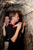 Couple exploring abandoned gold mine in Costa Rica — Photo