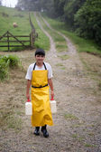 Young boy on Costa Rican dairy farm — Foto Stock
