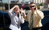 Couple shows displeasure with conversation. — Stock Photo