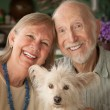 Senior Couple With Dog — Stock Photo