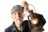 Railroad man holding lantern — Foto Stock