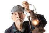 Railroad man holding lantern — Stock Photo