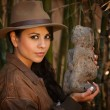 Pretty adventurer with relic — Stock Photo #40380825