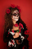 Women With Roses for Dia De Los Muertos — Stockfoto