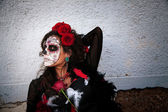 Dia De Los Muertos Lady with Roses — Stockfoto