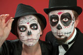 Couples with All Souls Day Make up — Stock Photo
