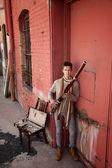 Bassoon Musician In Indian Attire — Stock Photo