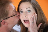 Surprise Kiss — Stock Photo