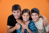 Big Brother with Two Siblings — Stockfoto