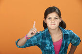 Little Girl Poiting Index Finger — Stock Photo