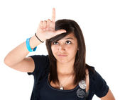 Girl Making the Loser Sign on her Forehead — Stock Photo