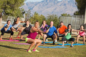 Diverse Group Adults Exercising — Stock Photo