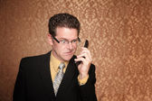 Angry Businessman with Cell Phone — Stock Photo