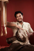 Indian Man Playing Tabla — Stock Photo