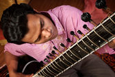 Indian Man Plays a Sitar — Stock Photo