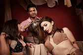 Two Belly Dancers With Indian Man — Stock Photo