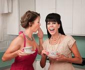 Woman Whispers Joke — Stock Photo