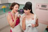Women Smoking And Drinking Coffee — Stock Photo