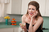 Weeping Woman with a Martini — Stock Photo