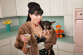 Woman Holds a Chihuahua — Stock Photo