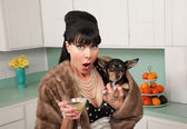 Woman Holding Chihuahua Dog — Stockfoto