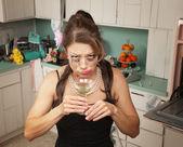 Weeping Woman Drinking Martini — Stock Photo