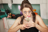 Weeping Woman Has A Drink — Stock Photo