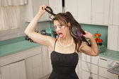 Woman Pulls Her Hair — Stock Photo