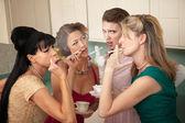Four Women Smoking — Stock Photo