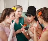 Women Gossiping in Kitchen — Stock Photo