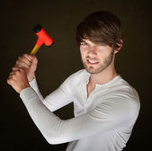Handy Man With Mallet — Stock Photo