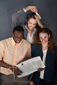 Trio of funny looking people — Stock Photo
