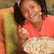 Overjoyed Little Girl With Popcorn — Stock Photo