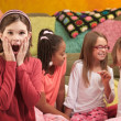 Stock Photo: Shocked Little Girl at Sleepover