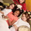 Stock Photo: Kids Eating Popcorn