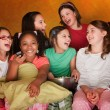 Group Of Little Girls Watch Television — Stock Photo #40721437