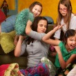 Stock Photo: Sleepover Pillow Fight