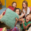 Stock Photo: Little Girls Pillowfighting