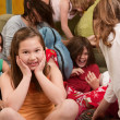 Stock Photo: Smiling Little Girl At Sleepover