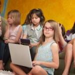 Little Girl Using Laptop — Stock Photo