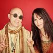 Stock Photo: Hippies With Peace Sign